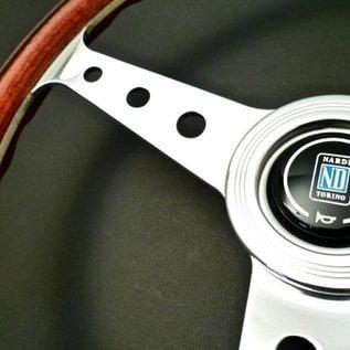 "Nardi ""Classic"" wood + polished spokes with holes 36 cms. steering wheel"