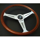 "Steering wheel Nardi ""Classic"" wood + polished spokes 39 cms."