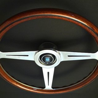"Nardi ""Classic"" wood + polished spokes 36 cms. steering wheel"