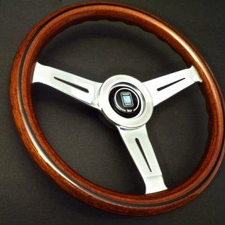 "Nardi ""Classic"" wood + polished spokes 33 cms. steering wheel"