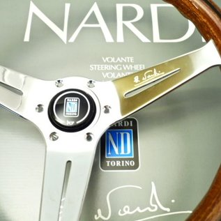 "Nardi ""Deep Corn"" wood + polished spokes 35 cms. steering wheel"