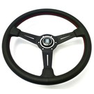"Steering wheel Nardi ""Classic"" black perforated leather + red stitching + black spokes 36 cms."