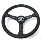"Steering wheel Nardi ""Classic"" black leather + grey  stitching + black spokes 36 cms."