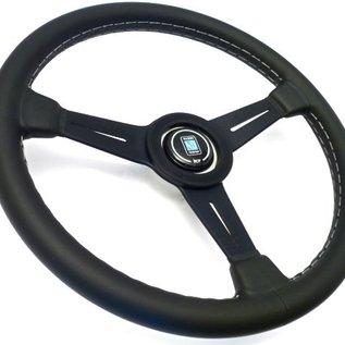 "Nardi ""Classic"" black leather + grey stitching + black spokes 36 cms. steering wheel"