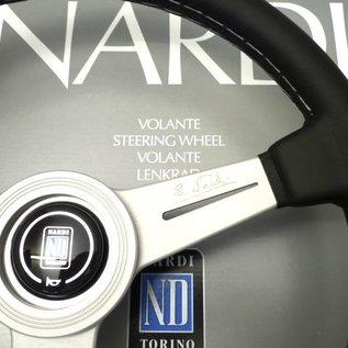 "Nardi ""Classic"" black leather + grey stitching +anodized spokes 36 cms. steering wheel"