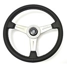 "Steering wheel Nardi ""Classic"" black leather + grey  stitching + anodized spokes 36 cms."