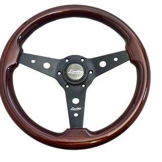 """Luisi """"Montreal"""" wood black spokes 34 cms steering wheel"""