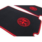 Floor mat setveloursblack-red Alfa Milano logo/trim Alfa Romeo Giulietta + Giulia Spider 1955-1965