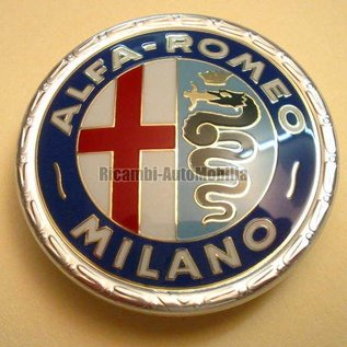 Alfa Romeo Giulia Bertone GT GTJ GTV 1963-1972 Emblem front AR Milano, 55 mms. varnished plastic
