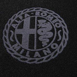 Alfa Milano logo + trim Alfa Romeo Giulia Sedan 1970-1976 Floor mat set black-dark grey