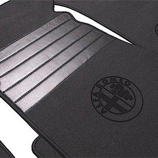 Alfa Romeo Bertone GTJ GTV 1970-1976 Tapis de sol premium veloursgris foncé - logo + contours noir