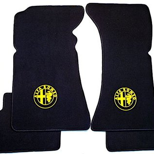 Alfa Romeo Bertone GTJ GTV 1970-1976 Floor mat set velours black - yellow logo
