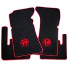 Floor mat set velours black - red logo + trim Alfa Romeo Bertone GTJ GTV 1970-1976