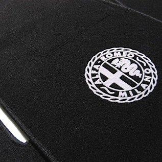 Alfa Romeo Bertone GTJ GTV 1970-1976 Floor mat setveloursblack - silver Alfa Milano logo