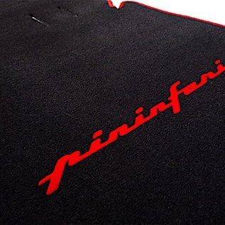 Alfa Romeo Spider Duetto 1966-1969 Floor mat set velours black - red Pininfarina script + trim
