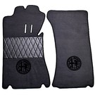 Floor mat set premium velours dark grey - black Alfa Milano logo + trim Alfa Romeo Spider Duetto 1966-1969