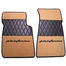 Floor mat set premium velours medium tan - black Pininfarina script + trim Alfa Romeo Spider 1983-1993