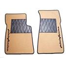 Floor mat set premiumvelours tan - black Pininfarina script + trimAlfa Romeo Spider 1983-1993