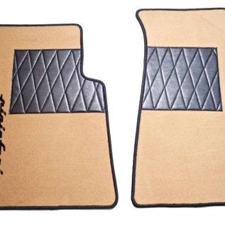 Alfa Romeo Spider 1983-1993 Floor mat set premiumvelours tan - black Pininfarina script + trim