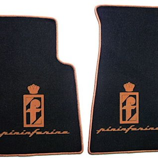 Alfa Romeo Spider 1983-1993 Floor mat set velours black - gold Pininfarina logo + script + trim
