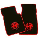 Floor mat set velours black - red logo + trim Alfa Romeo Spider 1983-1993