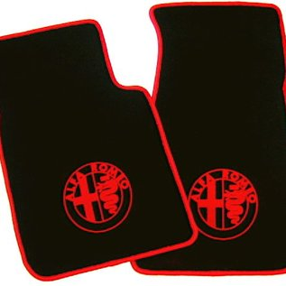 Alfa Romeo Spider 1983-1993 Floor mat set velours black - red logo + trim