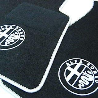 Alfa Romeo Spider 1983-1993 Floor mat set black - silver logo + trim
