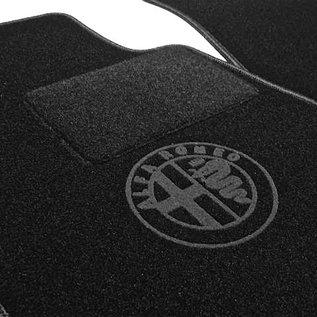 Alfa Romeo Spider 1983-1993 Floor mat set black - dark grey logo + trim