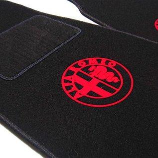 Alfa Romeo Spider 1969-1982 Floor mat set black - red logo
