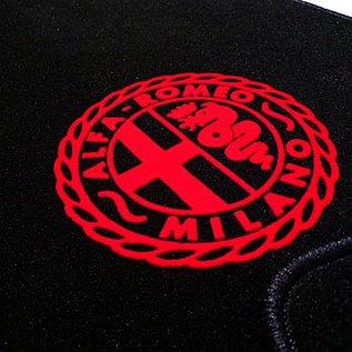 Alfa Romeo Spider 1969-1982 Floor mat set velours black - red logo Alfa Milano