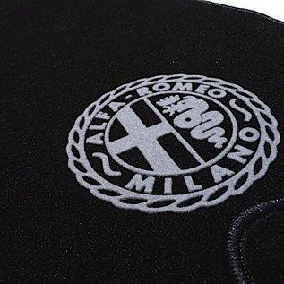 Alfa Romeo Spider 1969-1982 Floor mat set velours black - grey logo Alfa Milano