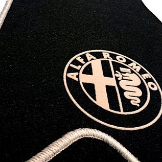 Alfa Romeo Spider 1969-1982 Floor mat set velours black - tan logo + trim
