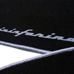 Alfa Romeo Spider 1969-1982 Floor mat set velours black - grey Pininfarina script + trim