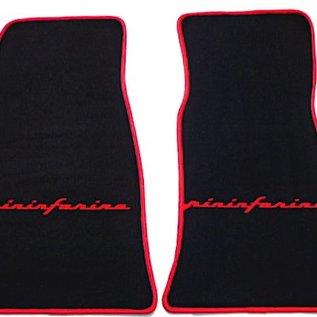 Alfa Romeo Spider 1969-1982 Floor mat set velours black - red Pininfarina script + trim