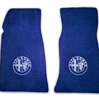 Alfa Romeo Spider 1969-1982 Floor mat set velours dark blue - silver logo + trim