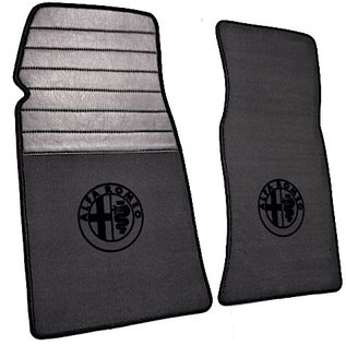 Alfa Romeo Spider 1969-1982 Floor mat set premium velours dark grey - black logo + trim