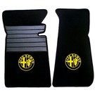 Floor mat set premium velours black - yellow logo Alfa Romeo Spider 1969-1982