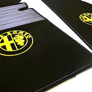 Alfa Romeo Spider 1969-1982 Tapis de sol premium veloursnoir - logo jaune