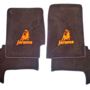 Lamborghini Jarama Floor mat set velours dark brown - orange logo
