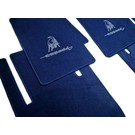 Floor mat set velours dark blue - grey logoLamborghini Espada