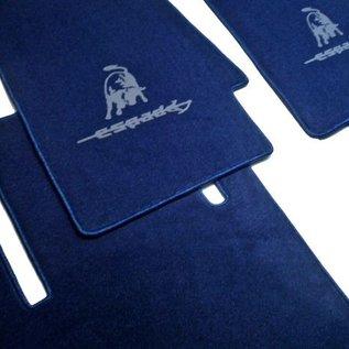 Lamborghini Espada Floor mat set velours dark blue - grey logo
