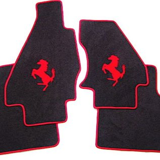 Ferrari 308 GT4 Floor mat set velours black - red horse + trim
