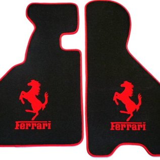 Ferrari 348 Floor mat setveloursblack - red horse/script + trim
