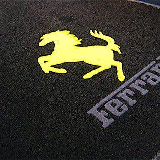 Ferrari 348 Floor mat setveloursblack - yellow horse / dark grey script + trim