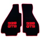 Floor mat set velours black - red script + trim Ferrari 328 GTB