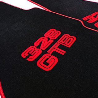 Ferrari 328 GTB Floor mat set velours black - red script + trim