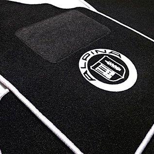 BMW E10 1502 1602 1802 2002 Floor mat set black-silver Alpina logo + trim