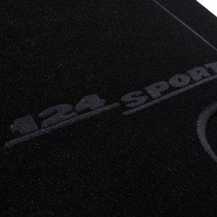 Fiat 124 Sport Coupe AC Floor mat setveloursblack - dark grey script + Nubuck trimming