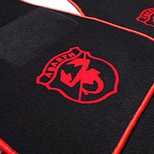 Autobianchi A112 Floor mat set black-red Abarth logo + trim