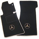 Floor mat set black - tan logo + trimMercedes-Benz R107 SL 1971-1989
